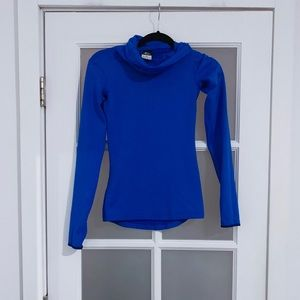 Nike Dri-Fit Mock Neck Blue Long Sleeve Top